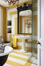 Yellow and white tiled Bathroom with grand mirror framed cabinet over pedestal basin with free standing bath - 13802-140-1