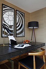 Desk in study with photographic prints of Guggenheim museum, New York - 14198-670-1