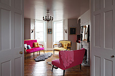 Double doors opening into elegant drawing room with bow window front - 14200-10-1