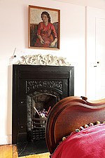 Victorian black iron fireplace in guest bedroom - 14200-400-1