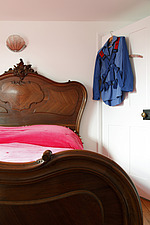Ornate French mahogany bed with pink bedcover - 14200-410-1