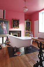 Pink bathroom with free standing claw foot bath - 14200-500-1