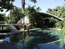 Arched exterior and swimming pool of Acayaba home, Brazil - 14231-140-1