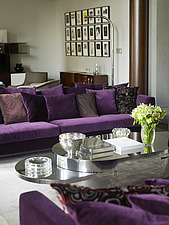Spacious open plan living room with purple sofas in apartment, Brazil - 14246-110-1