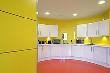 Yellow and orange kitchen facilities in Fabrick Offices, Hudson Quay, Middlesbrough, UK - 14696-420-1