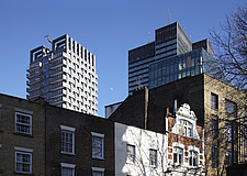 Hampstead Road, North London , with the woven aluminium of Triton Tower - 14702-120-1