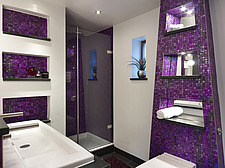 Purple tiled shower room with basin and toilet in Shirley Drive home, UK - 14741-310-1