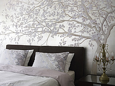 Tree mural in double bedroom with coordinated pillows in Church Road home, UK - 14749-100-1