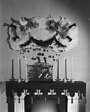 Christmas mantel and other displays at Marshall Field and Company, 1941 Dec - 70763-20-1