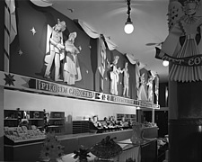 Christmas mantel and other displays at Marshall Field and Company, 1941 Dec - 70763-30-1