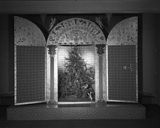 Christmas mantel and other displays at Marshall Field and Company, 1941 Dec - 70763-50-1