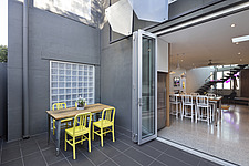 Terrace furniture with view into Burford House apartment, Malmsbury Street, , Hawthorn, Melbourne, Australia - 14902-40-1