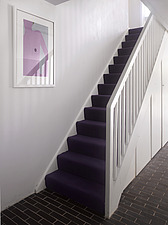 Staircase  in refurbished 1960s social housing, Vauxhall, London, England, UK - 15026-110-1