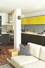 Open plan living room and kitchen in 2 bed apartment, Farringdon, London, England, UK - 15054-100-1
