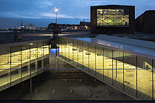 Night view of the Danish Maritime Museum inside the dry dock at Helsingor, Denmark, by BIG Architects - 15094-300-1