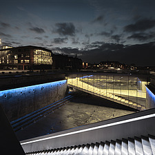 Night view of the Danish Maritime Museum inside the dry dock at Helsingor, Denmark, by BIG Architects - 15094-310-1