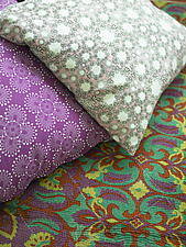 Floral patterned cushions, close up, Denmark - 14309-520-1