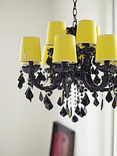black chandelier with yellow lampshades in residential house, Denmark - 14342-50-1