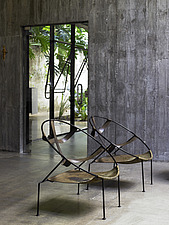 Two metal and leather chairs in Brazilian home - 14412-360-1