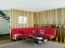 Red corner seating in Austrian home - 14454-290-1