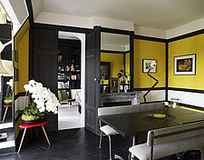 Yellow and black dining room in French home - 14496-30-1