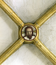 Close up of a painted Gothic keystone in the intersection of Parish Church, Nabburg, Bavaria, Germany - 40059-2190-1