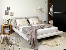 Leather platform bed in modern bedroom, UK home - 14636-10-1
