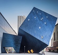 The modern architecture and design of the Contemporary Jewish Museum, San Francisco, California, with the bold angles, shapes and appearance, looking... - 15468-20-1
