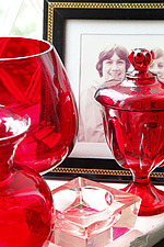 Red glassware in the window with childhood photo of Shaun - 15954-280-1