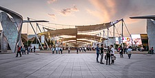 General view at the Expo 2015 Milano Italy, Piazza Italia, Expo Gates by Daniel Libeskind - 16080-470-1