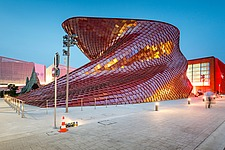 Exterior view at dusk of Vanke Pavilion at the Expo 2015 Milano Italy by architects Daniel Libeskind - 16080-820-1