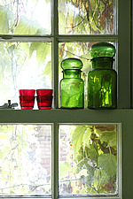 Coloured glass jars in the window - 16125-290-1