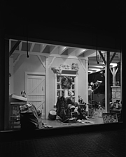 Window displays at Marshall Field and Company with toys, 1943 Dec - 70889-10-1
