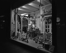 Window displays at Marshall Field and Company with toys, 1943 Dec - 70889-30-1
