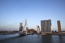 Cityscape of Rotterdam with De Rotterdam by Rem Koolhaas/OMA and Erasmusbrug bridge by architect Ben van Berkel - 16368-300-1