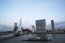 Cityscape of Rotterdam with De Rotterdam by Rem Koolhaas/OMA and Erasmusbrug bridge by architect Ben van Berkel - 16368-320-1