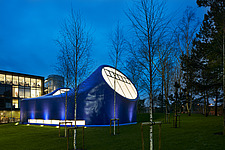 Drawing Studio, Arts University Bournemouth , at dusk all-steel prefabricated semi-monocoque construction - 16378-230-1