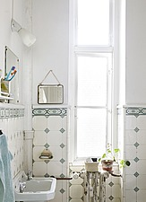 Bathroom with white and blue wall tiles - 16392-510-1