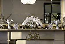 Interior view of residential building, silver and white Christmas decorations on a mantelpiece - 16753-230-1