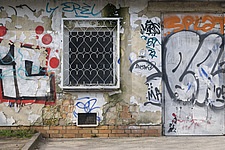 Graffiti on building exterior, Berlin, Germany - 12106-130-1