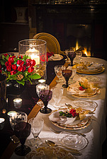 Table set for Christmas dinner in Chichester home, England, UK - 14877-260-1