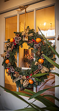 Annoushka Ducas home in Chichester showing Christmas decorations on her front door - 14877-340-1