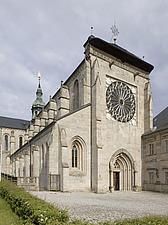 Exterior of Ebrach Abbey, a former Cistercian monastery in Ebrach, Bavaria, Germany - 40034-190-1