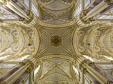 Close up view of ornate ceiling vault in Ebrach Abbey, a former Cistercian monastery in Ebrach, Bavaria, Germany - 40034-60-1