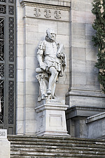 Statue of Cervantes outside the National Library, Madrid, Spain - 40035-270-1