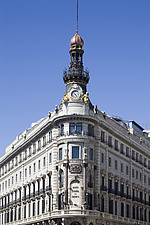 Facade of old bank building (Banco Espanol de Credito) on Alcala Street, Madrid, Spain - 40035-340-1
