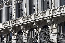 Facade of old bank building (Banco Espanol de Credito) on Alcala Street, Madrid, Spain - 40035-360-1