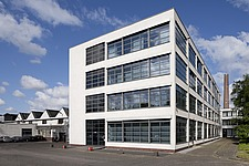 Facade of Bauhaus style textile factory built by Mies van der Rohe, 1931-35, Krefeld, Germany - 40085-140-1