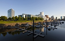 Marina with city skyline in background, Dusseldorf, Germany - 40085-340-1