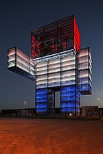 Lit up at night, the Indemann tower, a 36 metre high observation tower in the form of a robot, built 2009, North Rhine-Westphalia, Germany - 40086-290-1